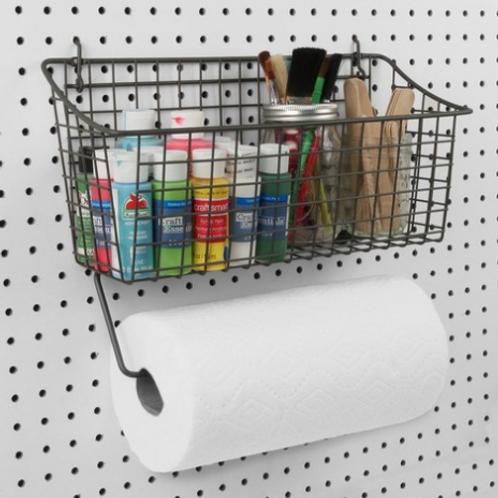 Pegboard Basket w/ Paper Towel Holder