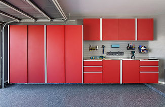 Red Sliding Cabinets CLOSED w Stainless