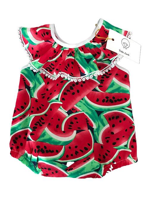 Dark watermelon print romper