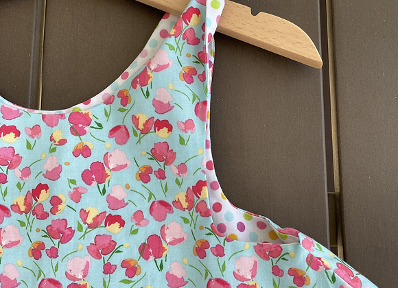 Pink blossom print reversible dress