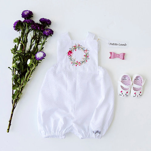 Flower embroidered romper
