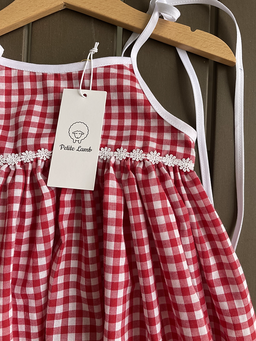 Red gingham daisy dress