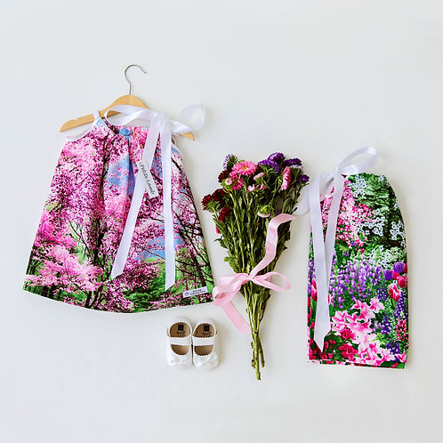 Blossom and tulip print dress