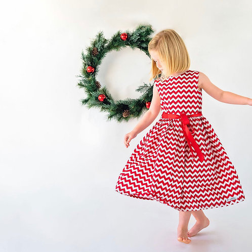 Red and white chevron dress