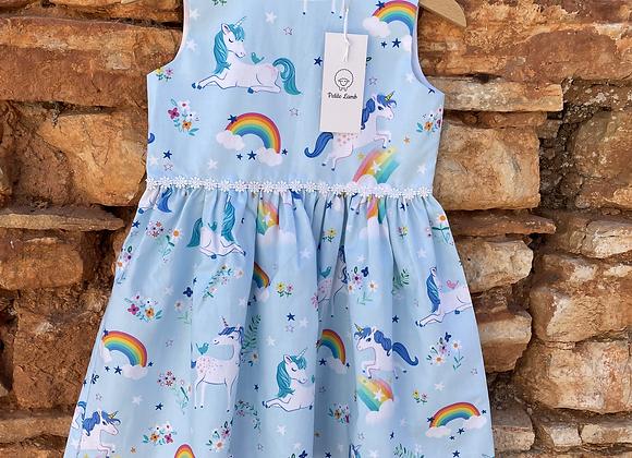 Unicorn and rainbow print dress