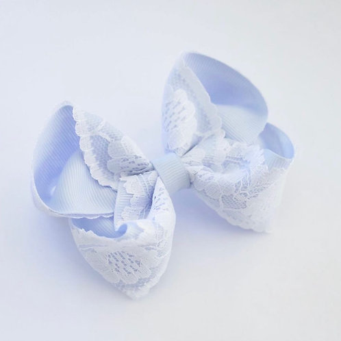Bluebell and white vintage lace bow