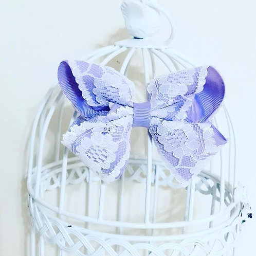 Lilac and white vintage lace bow