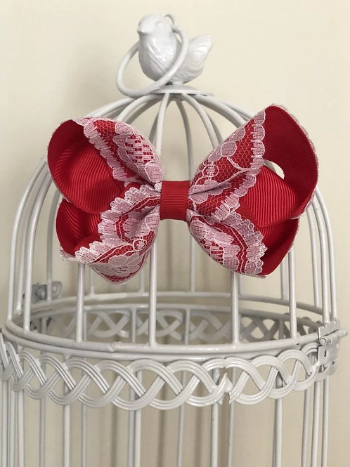 Poppy red and white vintage lace bow