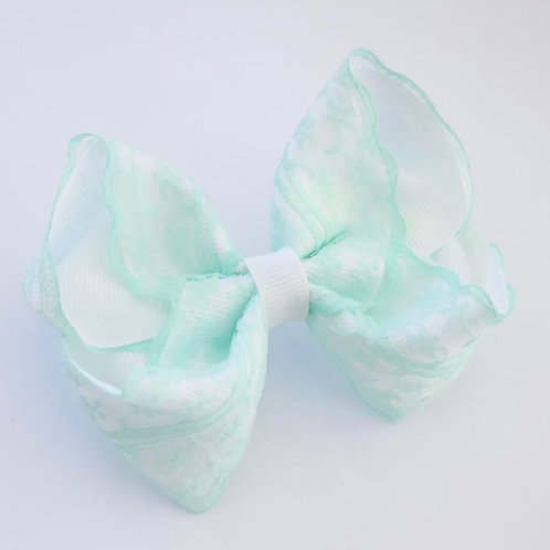 White and mint vintage lace bow