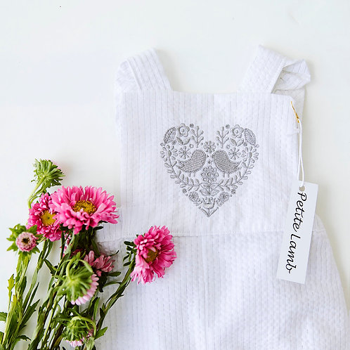 Embroidered crossover romper