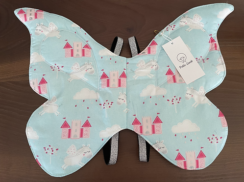 Blue unicorn print butterfly wings