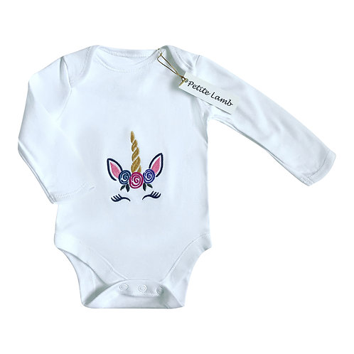 Unicorn print bodysuit long sleeve