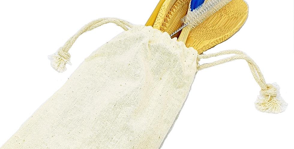 Kit de Cubiertos de Bambú 7 Piezas Portables Reutilizables Biodegradables