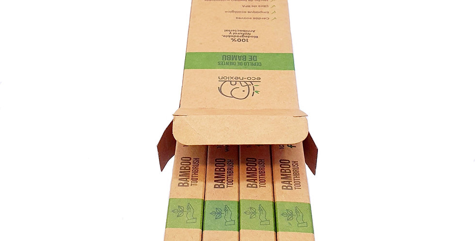 4-Pack Cepillos de Dientes de Bambú Biodegradables Adulto