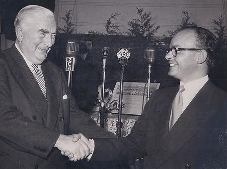 John Heyer with Prime Minister of Australia Robert Menzies - Presentation of The Grand Prix Assoluto, Canberra