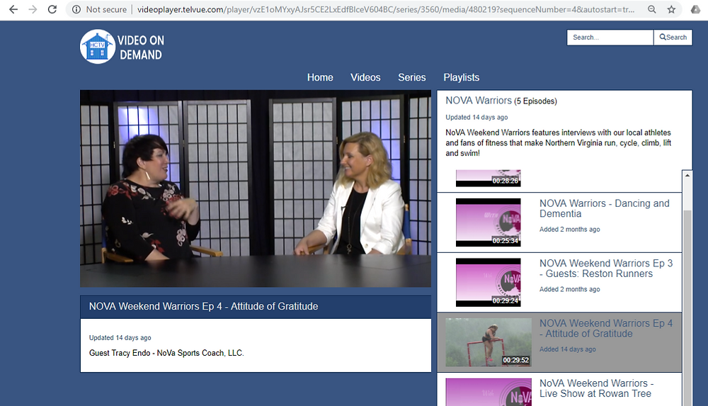 Community Televsion Studio Set with Host Meg Donnelly, LMT Interviewing Coach Tracy Endo