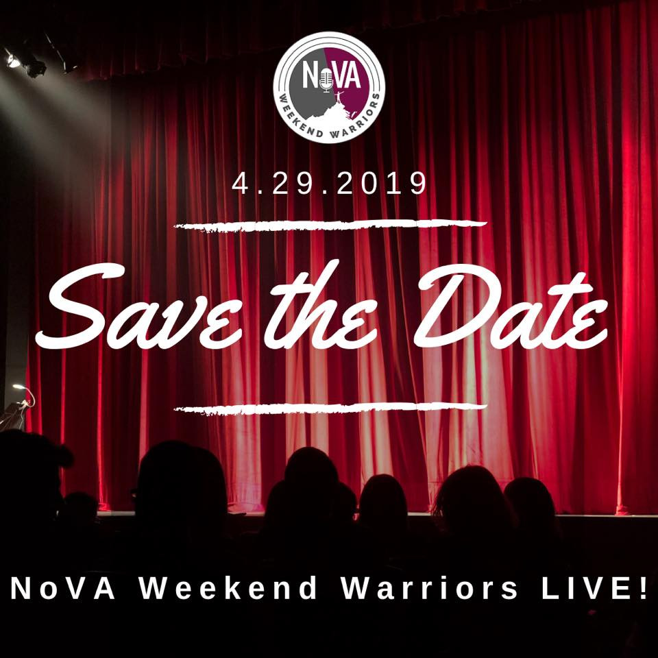 Curtain and spotlight with audience awaiting announcement and text reading: NoVA Weekend Warriors 4.29.2019 Save The Date