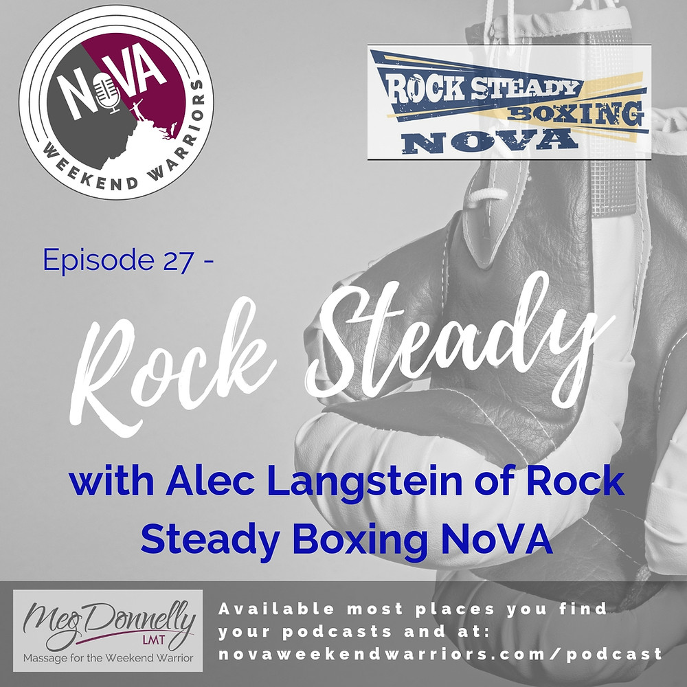 Cover Art with NoVA Weekend Warrior Logo and Rock Steady Boxing NoVA Logo with Boxing Gloves in Black and White