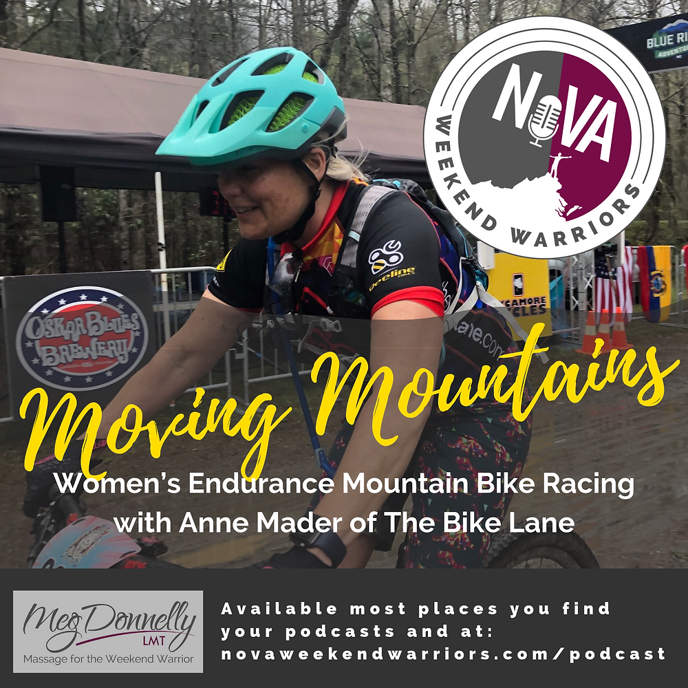 Podcast Cover Art Featuring Guest Ann Mader of The Bike Line on her Mountain Bike