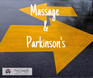 "Road Sign directing trafiic to the left or right, with a message ""Is Massage a Good Fit for those with Parkinson's""?"