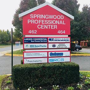 Red Springwood Professional Center entrance sign at entrance for Meg Donnelly, NoVA Weekend Warriors
