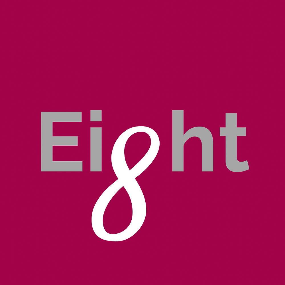 The word eight with an infinity sign/number 8 as the g