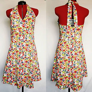 summer floral dress, halterneck, dressmaker maidenhead berkshire