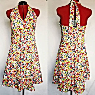summer floral dress, halterneck, dressmaker maidenhead berkshire