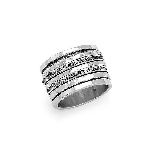 Περιστρεφόμενο δαχτυλίδι από ασήμι 925˚ με Ζιρκόν