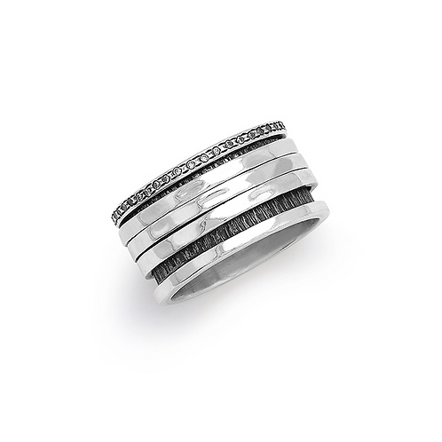 Spinning Ring in Sterling Silver with Zircon