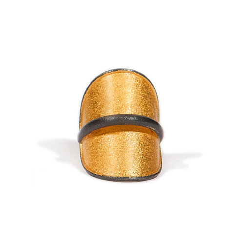 Ring in Gold Plated and Oxidised Sterling Silver