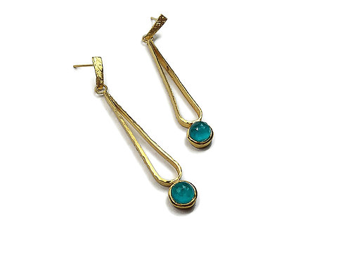 Earrings in Gold plated Sterling Silver with Tourmaline