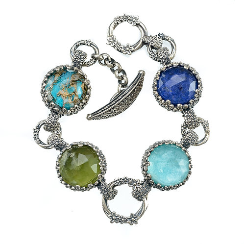 Bracelet in Sterling Silver with Doublet Stones