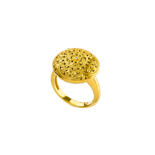 Ring in Gold Plated Sterling Silver with Zircon