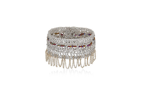 Bracelet with Zircon stones and silver chain