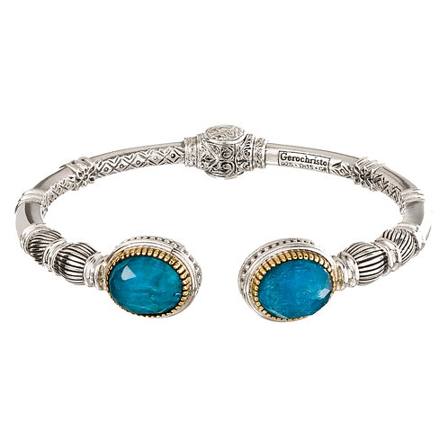 Bracelet in 18K Gold and Sterling Silver with Turquoise