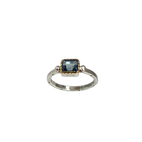 Ring in 18K Gold and Sterling Silver with Aquamarine