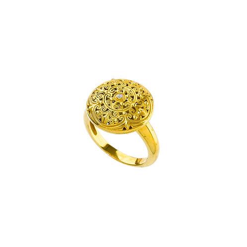 Δαχτυλίδι από επιχρυσωμένο ασήμι 925˚ με Ζιρκόν