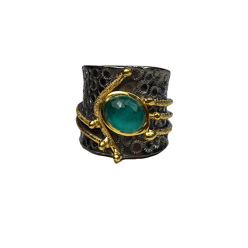 Ring in Sterling Silver with Malachite