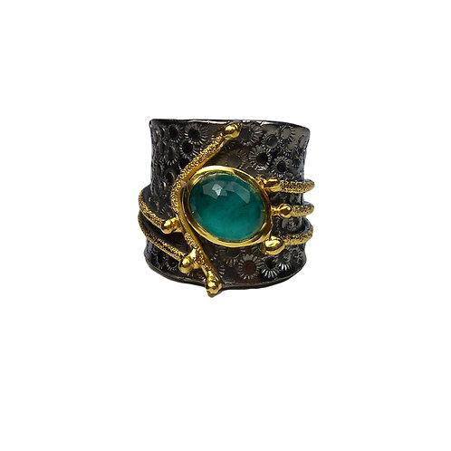 Δαχτυλίδι από ασήμι 925˚ με Μαλαχίτη