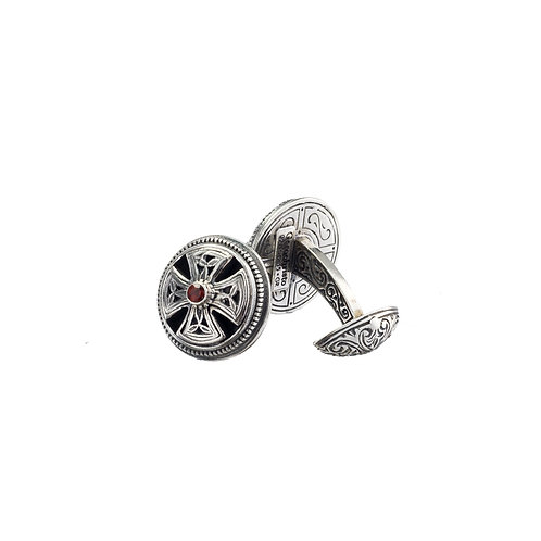 Cufflinks in Sterling Silver with Garnets