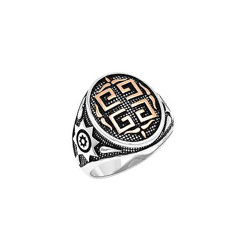 Ανδρικό δαχτυλίδι γκρέκα από ασήμι 925˚