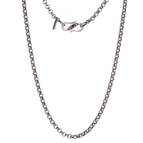 Rolo Chain in Sterling Silver with Garnet