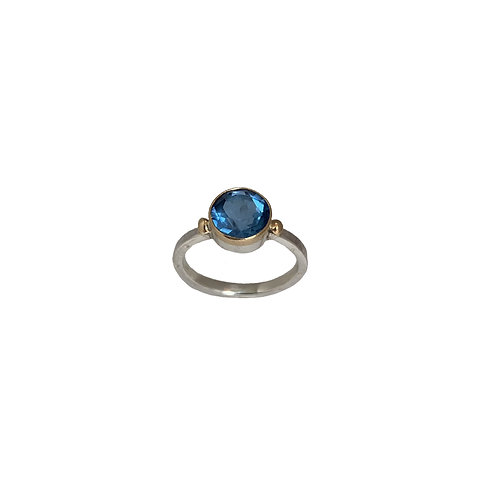 Ring in 18K Gold and Sterling Silver with Blue Topaz