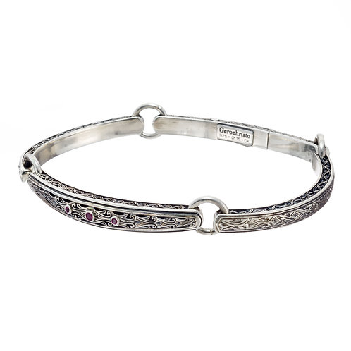 Classic Bracelet in Sterling Silver with Rubies