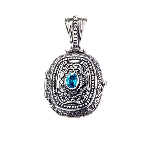 Locket Pendant in Sterling Silver with Blue Zircon