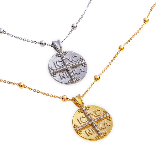 Byzantine Coin (Konstantinato) Necklace in Sterling Silver
