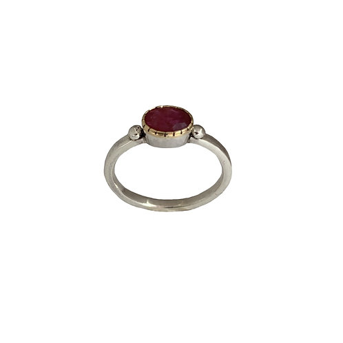 Ring in 18K Gold and Sterling Silver with Ruby