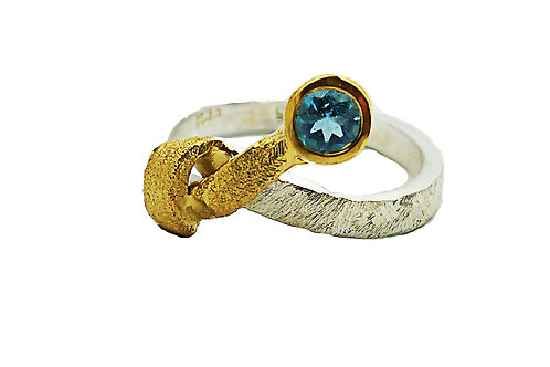 Ring in Gold plated Sterling Silver with Tourmaline