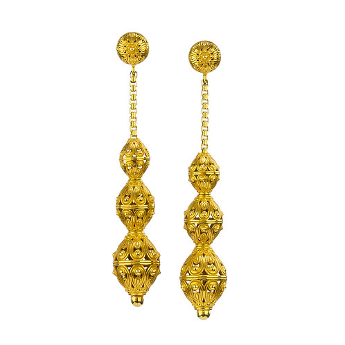 Long Earrings in Gold Plated Sterling Silver